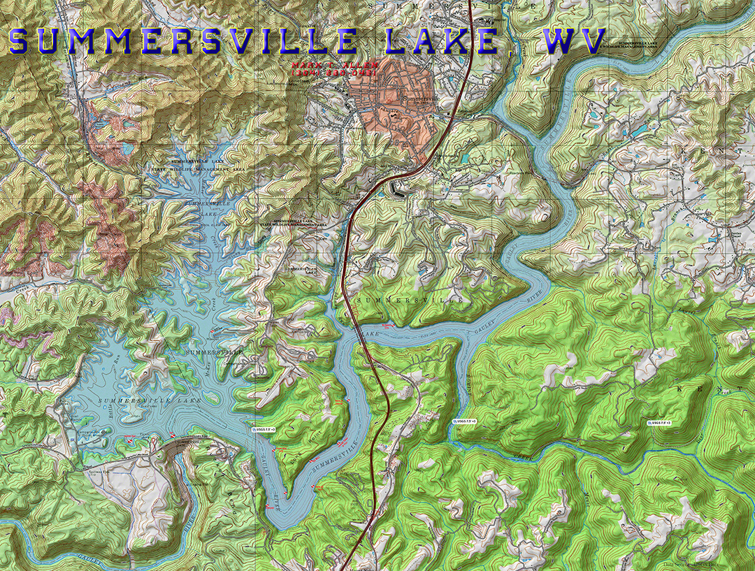 Map of Summersville Lake